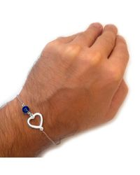 "JewelryAffairs - Metallic Heart Double Sided Evil Eye Adjustable Bracelet Sterling Silver, 7"" To 8.5 - Lyst"
