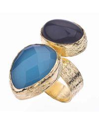 Jewelista - 18k Gold Plate, Quartz & Black Opaque Ring - Lyst