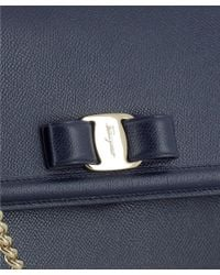 Ferragamo - Women's Blue Leather Shoulder Bag - Lyst