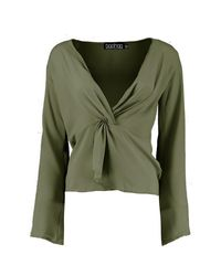 Boohoo Green Stacey Knot Front Blouse