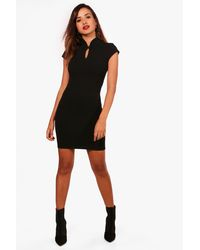 Boohoo - Black Louise Mandarin Collar Dress - Lyst