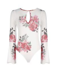 Boohoo - White Tall Lexi Floral Flared Sleeve Mesh Bodysuit - Lyst