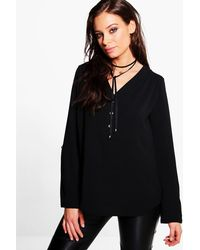 Boohoo - Black Hailey Button Front V Neck Top - Lyst