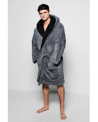 459b4c0341 Lyst - Boohoo Hooded Fleece Robe With Contrast Lapel in Gray for Men