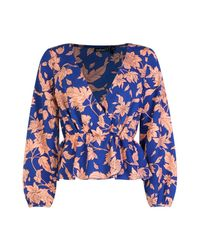 Boohoo - Blue Petite Bold Floral Wrap Blouse - Lyst