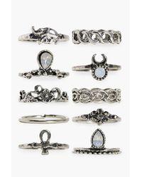 Boohoo - Metallic Daisy 10 Piece Stone Set Ring Pack - Lyst