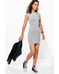Boohoo - Gray Cap Sleeve Curved Hem Bodycon Dress - Lyst