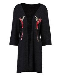 Boohoo - Black Holly Floral Embroidered Kimono Cardigan - Lyst