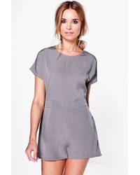 Boohoo - Gray Capped Sleeve Solid Colour Playsuit - Lyst