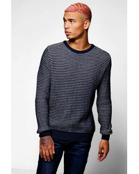 Boohoo - Blue Chunky Textured Crew Neck Jumper for Men - Lyst
