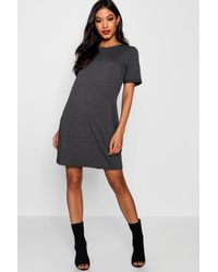 Boohoo - Gray Turn Back Cuff Shift Dress - Lyst