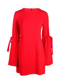 Boohoo - Red Tall Sophia Tie Sleeve Panel Woven Shirt Dress - Lyst