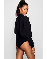 Boohoo - Pink Woven Plunge Long Sleeve Body - Lyst