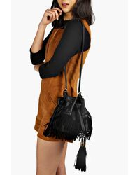 Boohoo - Black Fringed Tassel Duffle Bag - Lyst
