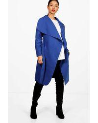 a2c693ec8f7ee Boohoo Maternity Tie Waist Shawl Collar Coat in Blue - Lyst