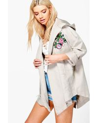 Boohoo - Multicolor Alisha Embroidered Lightweight Parka - Lyst