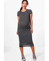 Boohoo | Black Maternity Clara Striped Cap Sleeve Midi Dress | Lyst