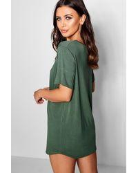 Boohoo Natural Petite Curved Hem T-shirt Dress