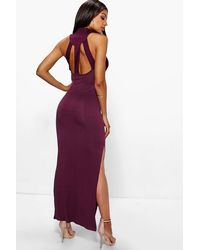 Boohoo - Red Turtle Neck Cut Out Back Detail Maxi Dress - Lyst