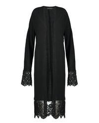 Boohoo - Black Harriet Lace Trim Fine Knit Maxi Kimono Cardigan - Lyst