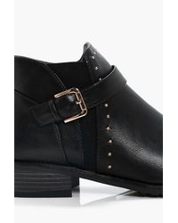 Boohoo | Black Georgina Pin Stud Ankle Chelsea Boot | Lyst