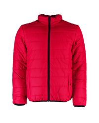 Boohoo - Red Zip Through Funnel Neck Quilted Jacket for Men - Lyst