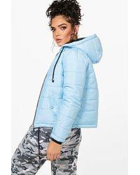 Boohoo - Blue Hooded Padded Jacket - Lyst