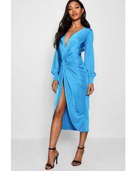 Boohoo - Blue Plus Jill Twist Front Plunge Slinky Midi Dress - Lyst