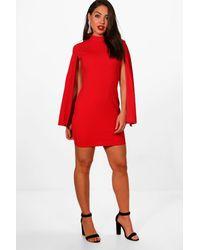 b66daa48932f Boohoo High Neck Split Sleeve Mini Dress in Red - Lyst