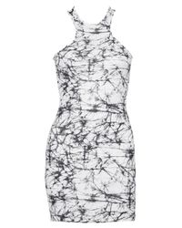 Boohoo - Black Petite Ivy Marble Print Racer Front Bodycon Dress - Lyst