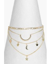 Boohoo - Metallic Lauren 4 Layer Chain Star & Horn Choker - Lyst