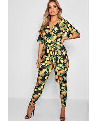 d7b65870e1 Lyst - Boohoo Plus Ari Kimono Lemon Print Plunge Jumpsuit in Black