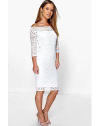 3a7e88a2208b Boohoo Petite Lace Bardot Midi Dress in Black - Lyst