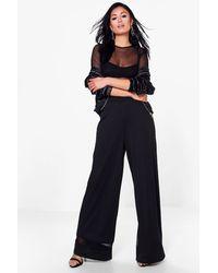 Boohoo - Black Roxie Mesh Insert Wide Leg Trouser - Lyst