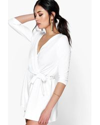 Boohoo - Pink Cleo Wrap Front Self Belt Playsuit - Lyst