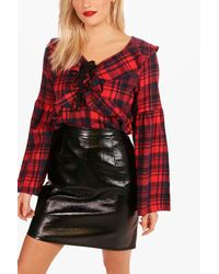 Boohoo - Red Checked Ruffle Front Blouse - Lyst