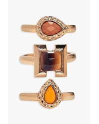 Boohoo - Metallic Lacey Mixed Stone Ring 3 Pack - Lyst