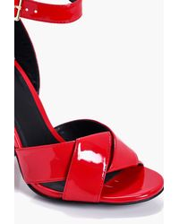 Boohoo - Red Taylor Knotted Front Flare Block Heels - Lyst