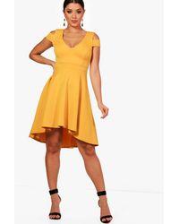 Boohoo - Yellow Bardot Plunge High Low Skater Dress - Lyst