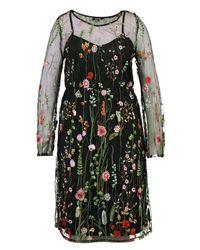 Boohoo - Black Plus Heavy Embroidered Midi Dress - Lyst