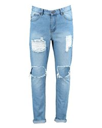 Boohoo | Blue Skinny Fit Vintage Wash Rigid Jeans for Men | Lyst