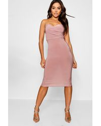 b3fb68c7c660 Boohoo Wrap Double Layer Bandeau Midi Dress in Pink - Lyst