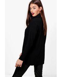 Boohoo - Black Oversized Roll Neck Knit Rib Jumper - Lyst