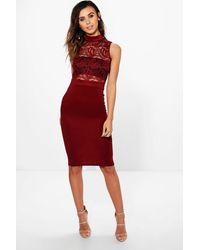 Boohoo | Red Petite Viki Lace Top Turtle Neck Midi Dress | Lyst