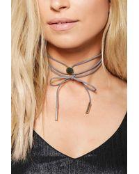Boohoo - Gray Frances Concho Style Wrap Tie Choker - Lyst