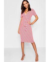 ca82d01cd22e Lyst - Boohoo Striped Wrap Midi Dress in Red