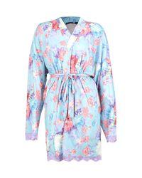 Boohoo Blue Tall Laura Floral Bridesmaid Slogan Robe