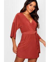 Boohoo - Red Batwing Draped Skater Dress - Lyst