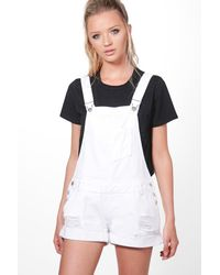 Boohoo - White Robin Distressed Denim Dungaree Shorts - Lyst