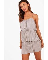 Boohoo - Gray Petite Tiered Pleated Dress - Lyst